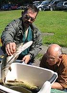 Andis Miezis liek uz svariem savas laivas guvumu - kopā 11.620 kG zivju.